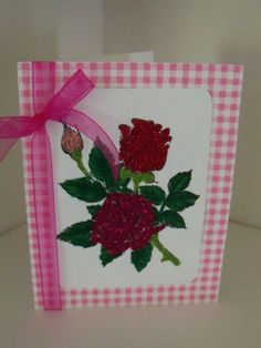 Roses with glitter and fun flock card by SuperCraftyLady on Etsy, $4.50