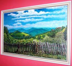 krajina s plotem_47x75_olej_plátno na sololitu_2009 Enjoy It, Display, Mountains, Landscape, Portrait, Architecture, Canvas, Water, Artwork
