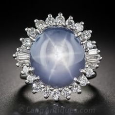 16 Carat Star Sapphire and Diamond Vintage Cocktail Ring