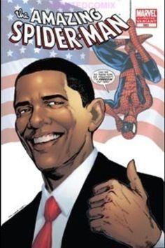 President Obama and Spiderman comic book.