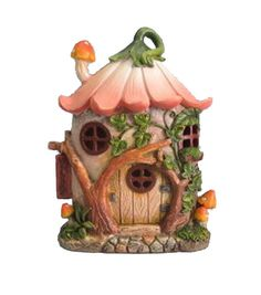 Make your miniature garden look dreamlike with this adorable Bloom Room Littles Resin Flower House With Led. This little fairy house takes anyone on a fantasy journey with its flower-shaped roof, mush Clay Projects, Clay Crafts, Diy And Crafts, Mini Fairy Garden, Fairy Garden Houses, Clay Fairy House, Gnome House, Polymer Clay Fairy, Fairy Garden Supplies