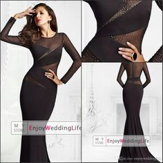 Wholesale Evening Dresses - Buy 2015 New Sexy Long Sleeves Jersey Black Mermaid  Evening Dresses Tulle 453f9027a0bb