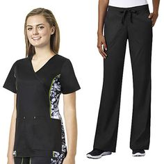 Sporty details lend athletic inspiration to the grace Exclusively at allheart Women's Mock Wrap Printed Side Panel Scrub Top & Flare Leg Scrub Pant Set. Contrast stitching enhances the effect of printed side panels, paired with a flared pant for added style. | #scrubs #scrubstyle