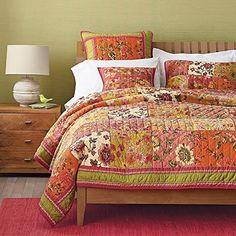 Floral Print Quilt Bedspread Set, Orange & Pink