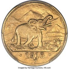 German East Africa: German Colony gold 15 Rupien 1916-T MS63 | Lot #29468 | Heritage Auctions Colonial, German East Africa, Dar Es Salaam, Antique Coins, World Coins, Coin Collecting, Tanzania, Elephant, Auction