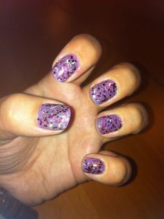 Lilac base coat with Barry M sparkle top coat