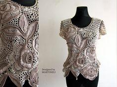 Ivory Crochet Top Freeform Crochet Lace Blouse Top by MARTINELI