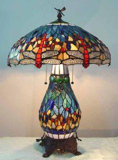 Tiffany Blue Dragonfly Table Lamp