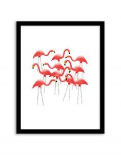 Free Printable Flamingo Flock Art from @chicfetti - easy wall art diy
