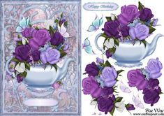 Butterflies and Roses Tea Pot Card Front and Decoupage