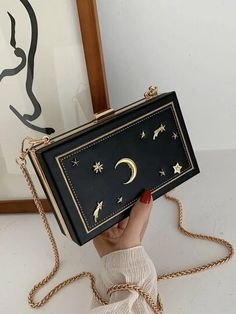 Women's Bags | Crossbody Bags, Backpacks & More | ROMWE USA Moon Decor, Box Bag, Cheap Bags, Romwe, Free Gifts, Shoulder Bag, Stars, Chain, Usa