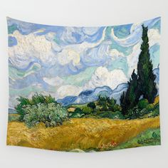 Wheat Field with Cypresses - Vincent van Gogh Wall Tapestry by Maryedenoa. Worldwide shipping available at Society6.com. Just one of millions of high quality products available.