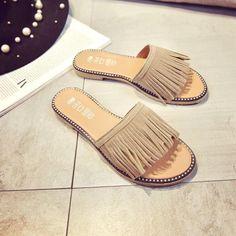 f36d0020d US SIZE Tassel Sandals Women Slippers Summer Fringe Sandal Flats Slides  Women Shoes