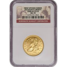 2008-W First Spouse Jacksons Liberty Half Ounce Gold Coin MS70 NGC