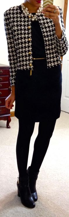 classic outfit - houndstooth jacket, black dress and pearls