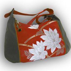 Japanese Vintage Obi Recycled 2-Way Crossbody Bag -  White Flower / Tangerine Orange by Kazuenxx on Etsy