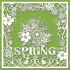 Spring Floral Paper-cut Art royalty-free stock vector art