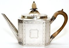 GEORGE III STERLING TEAPOT BY SMITH & HAYTER LONDON