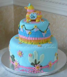 #Sweet 16 Fiesta Cake, #Sweet 16, #Pinata Cake...By: On the Porch Cakes