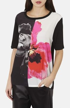 Topshop Two-Tone Poppy Print Tee available at #Nordstrom
