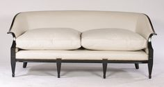 A sleek ebonized French sofa in the manner of Andrea Arbus circa En suite with the previous lot. Antique Sofa, Vintage Sofa, French Sofa, Manners, Sofas, Love Seat, Upholstery, Couch, Antiques