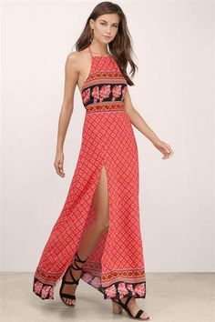 The bright and bold colors of this maxi dress with slits are perfect for summer.