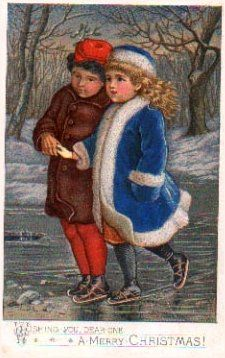 Christmas Greeting Card Little children ice skating (Copyrighted 1878 by L. Prang & Co. Boston)