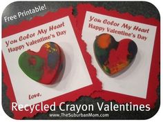 How to Recycle Crayons ~ Valentine's Day Kids Craft Recycled Crayon Valentine's Day Kids Craft Free Printable Valentine's Day Crafts For Kids, Valentine Crafts For Kids, Valentines Diy, Happy Valentines Day, Holiday Crafts, Kid Crafts, Daycare Crafts, Easy Crafts, Holiday Ideas