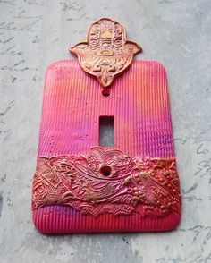 Bright Pink Hamsa switch plate cover one of a by TMBakerDesigns