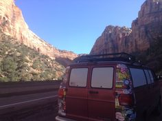 Zion national park. New roof rack makes the van look less rapey