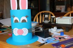Making the easter hat for the Easter Hat Parade at school this coming week. We used this template for the rabbit. Eyelashes were a Mum-extra and apparently I now have to add teeth! Boys Easter Hat, Easter Bonnets For Boys, Easter Hat Parade, Easter Art, Easter Crafts For Kids, Easter Bunny, Toddler Crafts, Easter Ideas, Easter Activities