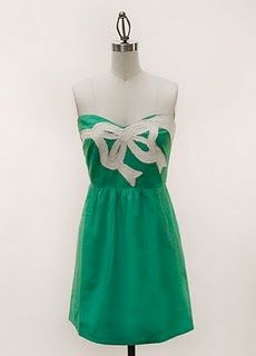 Lovely! (my DIY suggestion: plain A-line dress+a spool of ribbon in a contrasting color+matching thread. Place ribbon in a certain shape or randomly place it on the dress and make tiny stitches every few inches to keep ribbon in place. :) Simple & unique!)