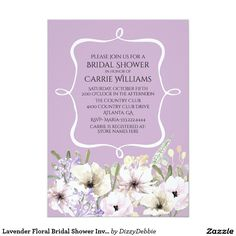 Lavender Floral Bridal Shower Invitation