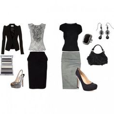 black grey business outfit Ready to rock my new job!!!