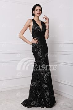54082d060d0 Sexy Black Open Back Mermaid Lace Formal Evening Dress