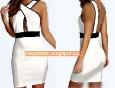باترون مفصل لفستان قصير مقاس 36 - 56 - Sew Pattern
