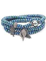 Diamond Shell Tahitian Pearl Azurite Wrap Bracelet
