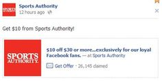 SportsAuthority.com Free Coupon to Save $10 oFF $30 or More at Sports Authority via Facebook – Exp. August 18, 2012