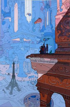 Paris (Limited Edition Print) (Signed) art by Moebius (Jean Giraud)   http://ebay.to/1MkkL4b