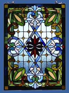 Tiffany Style Stained Glass Window Panel Colorful Victorian Design Great Colors | eBay