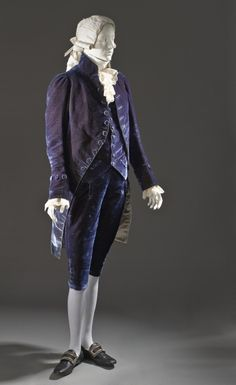 1810 French Suit at the Los Angeles County Museum of Art, Los Angeles - Formal dress, especially at Court, was more conservative than other modes of dress. Because of this, there are a number of early 19th century suits like this one that, at first glance, look more like something out of the late 18th century.