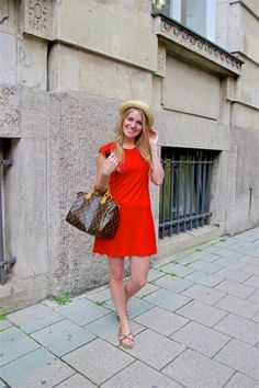 Heartfelt Hunt - Red Dress - Red dress, straw hat, Louis Vuitton bag, Ray-Ban sunglasses, sandals and blonde loose curls