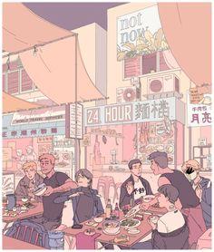 night market, an art print by F Choo Comics Illustration, Illustrations, Digital Illustration, Aesthetic Anime, Aesthetic Art, Bts Art, Drawn Art, Pretty Art, Oeuvre D'art