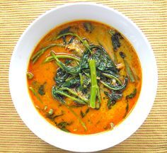 ~Red Curry with Morning Glory & Salted Croaker Recipe, Gaeng Tapo Pla Kem~