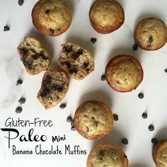 Banana Chocolate Mini Muffins, Paleo & Gluten-Free