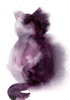 #Minimalist #Cat #Watercolor Painting Original Watercolor Painting Cat…