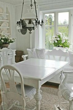 Shabby Chic Dining Room, Shabby Chic Kitchen, Shabby Home, Shabby Chic Homes, Comedor Shabby Chic, Home Interior, Interior Design, Vibeke Design, Estilo Shabby Chic