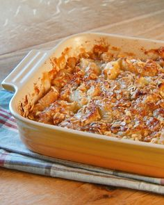"""To create a good texture for the apple crisp, the general rule of thumb is three parts fruit to one part topping. You can also swap out the apples for pears, nectarines, or peaches. From the book """"Mad Hungry,"""" by Lucinda Scala Quinn (Artisan Books)."""