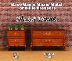 Blyss@MTS - Maxis Match - Base Game One-tile dressers #Sims3
