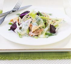 Smoked trout salad with fennel, apple & beetroot. Delicate hot-smoked fish is perfectly complemented with crisp apple and aniseed flavours - a great light bite